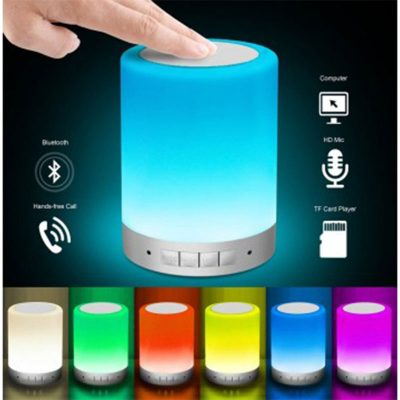 parlante bluetooth y lampara led
